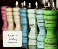 Pick a  COLOR, ANY COLOR - Painted,Distressed, Wooden Pepper Mill and Salt Shaker -Annie Sloan Chalk Paint - Shabby Chic Kitchen