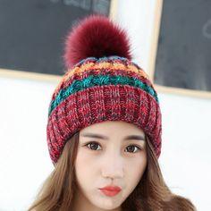 Kingsnower Woolen Caps Ladies Women's Winter Thicken Velvet Hats Female Knitted Warm Hat for Girls Beanies Skullies