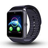 Luxsure Bluetooth Smart Watch with SIM Card Slot and Smart Health Watch Bracelet Smartwatch for Samsung HTC and Other Android Smartphones- Gray Black band