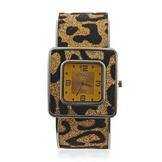 Liquidation Channel:  STRADA Bronze Leopard Print Japanese Movement Cuff Watch in ION Plated Stainless Steel