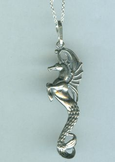 Sterling HIPPOCAMPUS Pendant and Chain - 3D - Winged Seahorse. $42.00, via Etsy.
