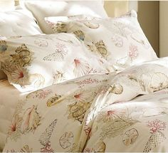 Beautiful Silk Sea Shell Printed Chic Cottage by QueenAndCastle