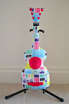 Classic Rainbow Cassette Guitar Pillow / Guitar by pookiedookie