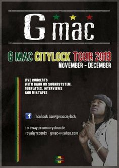 G-Mac European Tour November - December - Check promotional flyer on how to book now!!!