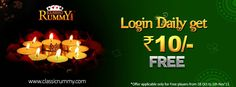 """LOGIN DAILY GET Rs.10 IS BACK!!!  Why wait for #festival to play #cards? #Play it anytime at classicrummy with Your Favorite offer """"LOGIN DAILY GET Rs.10""""   Its TIME TO PLAY THE #GAME!! Register now to avail Rs.10 #free #cash...  https://www.classicrummy.com?link_name=CR-12"""