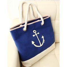 Blue Canvas Anchor Printed Knit Straps Handbag