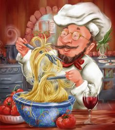 Busy Chef With Chianti. Chef keeps busy making his favorite pasta dish for you while sipping on a glass of wine! Fun artwork for your kitchen or dining room decor. Chef Pictures, Kitchen Pictures, Chef Kitchen Decor, Kitchen Art, Decoupage Vintage, Decoupage Paper, Cartoon Chef, B 17, Italian Chef