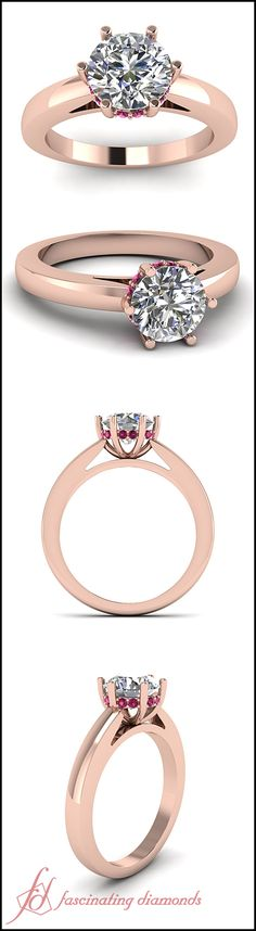 Crowning Glory Ring    Round Cut Diamond Side Stone Ring With Pink Sapphire In 14K Rose Gold