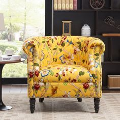 Andover Mills Pritzker Barrel Chair Upholstery Color: Yellow Multi-Floral Pattern with Birds How To Clean Furniture, Funky Furniture, Classic Furniture, Home Furniture, Repurposed Furniture, Funky Chairs, Vintage Chairs, Side Chairs, Colorful Chairs