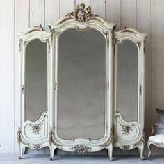 Grand baroque luxury! A breathtaking antique Eggshell Antique Armoire with original keys