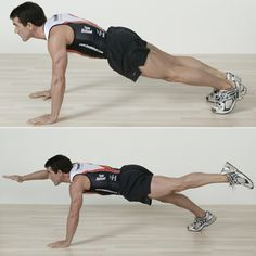 Two-Point Plank  Assume a push up position, making sure your body forms a straight line from your shoulders down to your toes. Raise your right hand and left leg out to form a straight line with your body, hold for two counts, then return to plank position and repeat with the other arm and leg. That's one rep