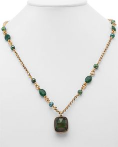 Stephen Dweck bronze pearl and bloodstone pendant