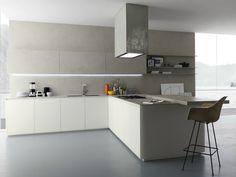Ceramic kitchen with peninsula Glasstone Collection by Zampieri Cucine | design Stefano Cavazzana
