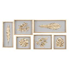 The Well Appointed House Golden Leaves Shadow Box Set of 6 Wooden Shadow Box, Shadow Box Frames, Frames On Wall, Framed Wall Art, Framed Prints, Wall Décor, Seashell Shadow Boxes, Flower Shadow Box, Entry Wall