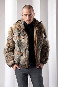 Fashion Moda, Fur Fashion, Fashion Wear, Mens Fashion, Bomber Jacket Men, Fur Jacket, Men's Coats And Jackets, Fur Coats, Mens Fur