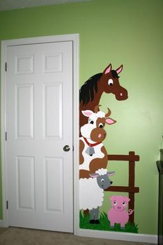 Just tape, trace & paint this easy DIY paint-by-number wall mural that features a horse, cow and cute little pig peeking out from behind the doorway.