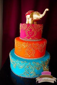 Destination wedding in Thailand:  Gold Henna Scroll Wedding Cake