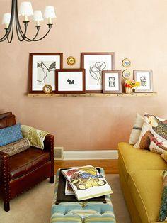 artwork on shelves