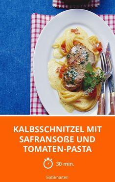 Kalbsschnitzel mit Safransoße und Tomaten-Pasta