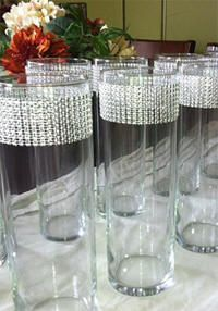 Faux Rhinestone Banding on Cylinder Vases- Add it to any cylinder for a pop of style