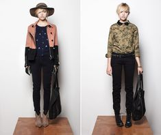 knitted cardigans, nubby sweaters, indigo dyed shirts, and skinny cords this season at Maison Scotch