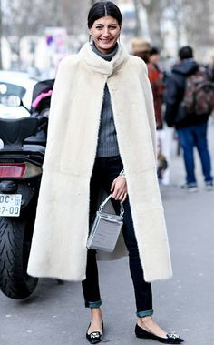 Trending Style at #FW2014 Fashion Weeks: #Cape. Giovanna Battaglia in cream-white fur cape coat street styleduringFall Winter 2014 PFW.