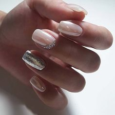 Nail art Christmas - the festive spirit on the nails. Over 70 creative ideas and tutorials - My Nails Silver Glitter Nails, Pink Nails, White And Silver Nails, Gel Nail Designs, Cute Nail Designs, Pretty Designs, Gel Nail Art, Gel Nails, Nail Nail