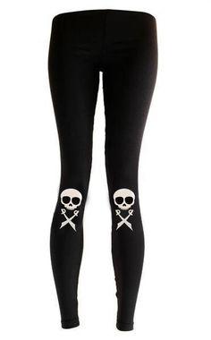 3e3fc49a56acb Pirate skull Knee Pad Skull printed leggings punk aesthetic clothing  Halloween leggings   yoga leggings pastel goth leggings