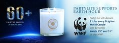 PartyLite donates on every Brighter World candle sold. Wwe, 31 Mars, Earth Hour, Marie, Bright, Candles, Candle, Candy, Candle Sticks