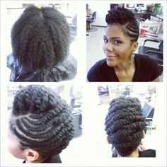 Bigger flat twist updo - September 29 2019 at Natural Hair Twists, Pelo Natural, Natural Hair Updo, Natural Hair Styles, Hair Dos, My Hair, Braided Hairstyles, Cool Hairstyles, Protective Hairstyles