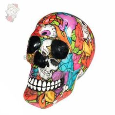 This fantastic and colourful skull is cast in the finest resin before being painstakingly hand-painted Staring straight ahead this grinning skull is Colorful Skulls, Sword, Gothic, It Cast, Hand Painted, Colours, Fantasy, Skeletons, Art