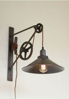 Pulley Light Sconce, Pulley Wall Mount, Adjustable Pulley Sconce, Light Fixture, Industrial, Vintage, Antique, Rustic, Wall Light, Wall Sconce