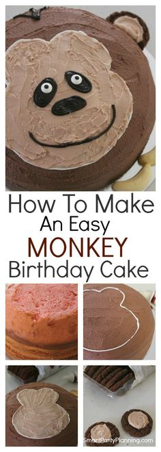 Learn how to make an easy and fun monkey birthday cake in just 8 simple steps. This DIY tutorial creates a simple but cheeky monkey cake that the kids will love. It's perfect for a monkey or a jungle theme party. Monkey Birthday Cakes, Diy Birthday Cake, Good Birthday Presents, First Birthday Cakes, Birthday Ideas, Birthday Parties, Jungle Cake, Jungle Theme, Jungle Party