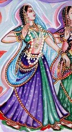 Dancers Kathak Dance Classical Indian Dance Water by sadashivarts Saree Painting, India Painting, Woman Painting, Dance Paintings, Music Painting, Indian Folk Art, Indian Music, Kathak Dance, Indian Classical Dance