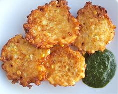 These easy Corn Fritters are sweet and delicate - a great way to use sweet corn once you've eaten your fill of corn on the cob. Serve with a spicy salsa or other sauce to highlight their sweetness. Vegetable Side Dishes, Vegetable Recipes, Veggie Side, Sweet Corn Fritters, Veggie Fritters, Sweet Corn Recipes, Spicy Recipes, Corn Fritter Recipes, Corn Dishes