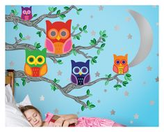 Owls Wall Stickers for Kids Rooms - Nightly News 2