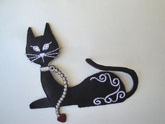 Black Satin Embroidered Cat Feline Applique Sew On by FabricBistro