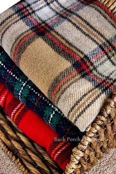 Crisp sunny days, wool throws, and pots of chili or soup. and Plaid - Back Porch Musings