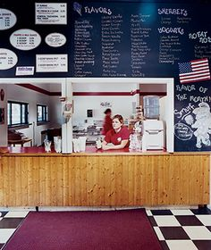 The vintage counter at Shain's, in southern Maine.  Shain's of Maine Ice Cream, Sanford, ME.  South of Portland.    For the next time we are in Maine.
