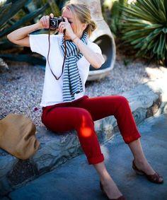 red denim / white T / striped scarf