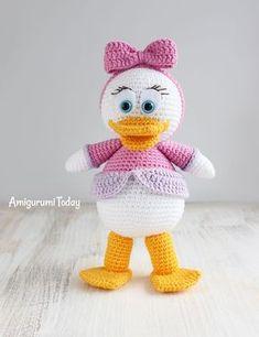 "Let's crochet a pretty Webby Duck, the character of popular cartoon ""Duck Tales"". Use this free amigurumi pattern! Crochet Animal Patterns, Stuffed Animal Patterns, Crochet Patterns Amigurumi, Crochet Dolls, Amigurumi Free, Amigurumi Doll, Cute Crochet, Crochet Baby, Crochet Disney"