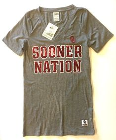 0859c63a6b NWT Small Victoria Secret University Oklahoma OU Sooner Nation Sequin Bling  Tee