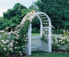 Spindle Top Arbor with a Nantucket Picket Gate  Wood Arbors and Solid Cellular PVC Arbors from Walpole Woodworkers