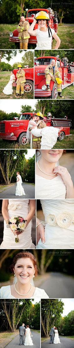 Chelsea Peterson Photography: D & K Bridals {Antique Fire Truck-Utah County Wedding photographer}