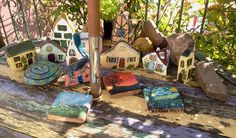Collection of painted rock cottages