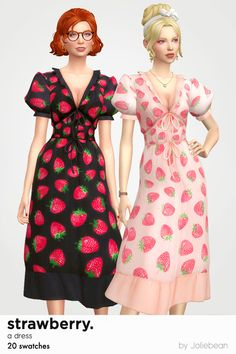 Sims 4 Cc Packs, Sims 4 Mm Cc, Sims Four, Sims 4 Mods Clothes, Sims 4 Clothing, Maxis, Strawberry Dress, Best Sims, Sims 4 Dresses