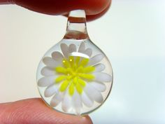 Daisy Flower-Hand Blown Art Glass Pendant-unique keepsake jewelry made with white and yellow Italian Soda-Lime glass