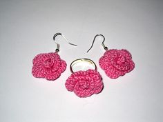 Conjunto pendientes y anillo crochet / Earrings and crochet ring