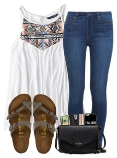 """advice in the desc."" by madiweeksss ❤ liked on Polyvore featuring American Eagle Outfitters, Paige Denim, Birkenstock, Urban Decay and Casetify"