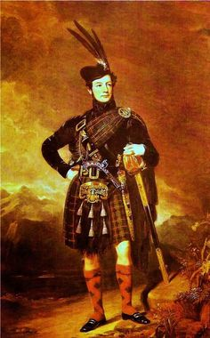 James Moray of Abercairney c1840 wearing a kilt and plaid in Murray of Atholl tartan.